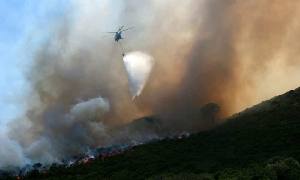 Firefighting volunteers douse the flames on Table Mountain during the summer of 2005.