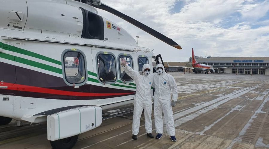 AW189 Crew in PPE near acft